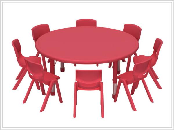 mesa escolar redonda noga roja